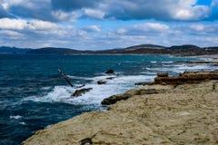 Sarakiniko beach stock photo