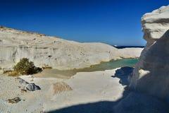 Sarakiniko beach. Milos. Cyclades islands. Greece. Milos or Melos is a volcanic Greek island in the Aegean Sea, just north of the Sea of Crete. Milos is the Royalty Free Stock Image
