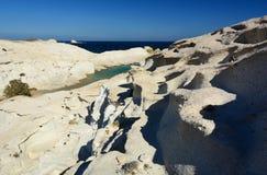 Sarakiniko beach. Milos. Cyclades islands. Greece. Milos or Melos is a volcanic Greek island in the Aegean Sea, just north of the Sea of Crete. Milos is the Stock Photography