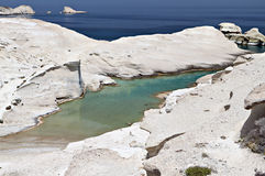 Sarakiniko beach at Milos island Stock Images