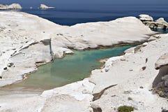 Sarakiniko beach at Milos island. Sarakiniko beach at the island of Milos in Greece Stock Images