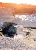 Sarakiniko beach at sunset royalty free stock image