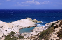 Sarakiniko plaża na Milos wyspie 01 Zdjęcia Stock