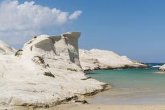 Sarakiniko beach lunar landscape in Milos, Cyclades Islands, Aegean Sea, Greece stock image