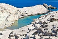 Sarakinikoen i Milos, Grekland arkivfoto