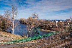 Saranac Rzeczny Zwyczajny most - Plattsburgh, NY zdjęcia stock