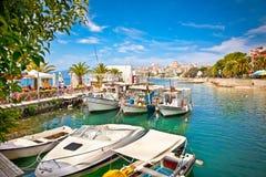Saranda在爱奥尼亚海的` s口岸 通风 免版税图库摄影