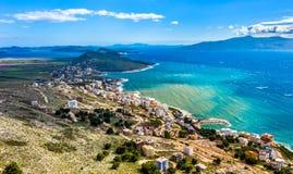 Saranda,阿尔巴尼亚鸟瞰图  库存图片