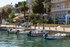 Marina in Saranda town, Albania. Coastline Ionian Sea. stock images
