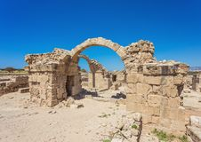 Saranda Kolones fragment of Kato Pafos Archaeological Park, loca. Ted in southwest Cyprus and situated near Paphos Harbour. The park is still under excavation Royalty Free Stock Images