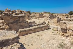 Saranda Kolones fragment of Kato Pafos Archaeological Park, loca. Ted in southwest Cyprus and situated near Paphos Harbour. The park is still under excavation Royalty Free Stock Photo