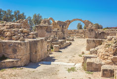 Saranda Kolones fragment of Kato Pafos Archaeological Park, located in southwest Cyprus and situated near Paphos Harbour Royalty Free Stock Photos