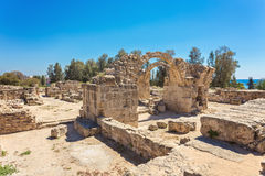 Saranda Kolones fragment of Kato Pafos Archaeological Park, located in southwest Cyprus and situated near Paphos Harbour Stock Images