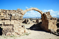 Saranda Kolones, Paphos, Cyprus. The ruins of Saranda Kolones (Forty Columns), a Frankish Castle built by the Lusigans at the end of the 13th century near Paphos Stock Image
