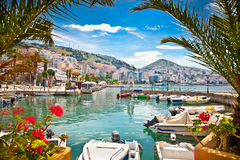 Saranda` s haven bij Ionische overzees albanië Stock Afbeeldingen