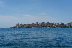 Sarande - a look from the sea. A look at Albanias center of tourism - Sarand. the picture shows the view from the sea Stock Photography