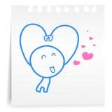 Sarang hae yo Liefde u cartoon_on document Nota Stock Afbeelding