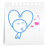 Sarang hae yo Love you cartoon_on paper Note Stock Image