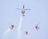 Sarang- the IAF aerobatic team of Helicopters Royalty Free Stock Photo