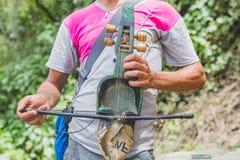 Sarangi, het Traditionele Muzikale Instrument van Nepali stock fotografie