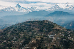 Sarangkot hill and the Machapuchare, Nepal Royalty Free Stock Images