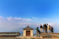 Sarankot View point Pokhara Nepal. Sarangkot is the best sunrise view point in Pokhara. it offers the highest possibilities of panoramic views of annapurna and stock photography