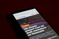 Al Jazeera. SARANSK, RUSSIA - FEBRUARY 10, 2019: A smartphone screen shows details of Al Jazeera home page on it`s web site stock photography