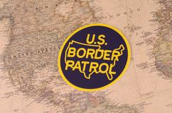 United States Border Patrol. SARANSK, RUSSIA - NOVEMBER 05, 2017: The seal and patch of the United States Border Patrol with world map stock photos