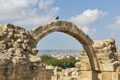 Saranta Colones城堡废墟在帕福斯,塞浦路斯 免版税库存图片