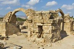Saranta Colones城堡废墟在帕福斯,塞浦路斯 库存照片
