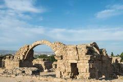 Saranta Colones城堡废墟在帕福斯 库存照片