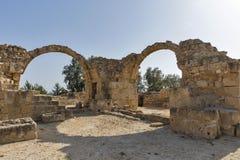Saranta Colones城堡废墟在帕福斯,塞浦路斯 库存图片