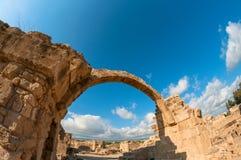 Saranta Kolones,一个被破坏的中世纪堡垒 帕福斯区,塞浦路斯 库存图片