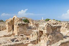 在帕福斯考古学公园,塞浦路斯的Saranta Kolones 免版税库存照片