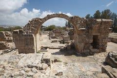 Saranta Kolones特写镜头的废墟 帕福斯 塞浦路斯 库存图片