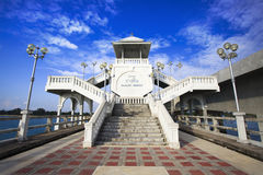 Sarasin Bridge. In 1970, the Sarasin Bridge was built to help connect Phuket Island to the mainland of Thailand. This enabled the tremendous expansion of trading royalty free stock image