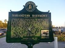 Sarasota bayfront. Plaque at sarasota Florida bayfront Royalty Free Stock Image