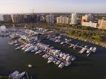 Sarasota, FL Coast. A closer shot of the urban coastline of Sarasota FL, with large marina stock image