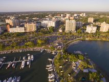 Sarasota, FL Marina and Bayfront Park. A large Sarasota marina and the Bayfront Park that extends into the Bay, with most of the city`s downtown in shot Stock Photo