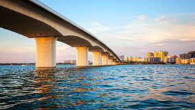 Sarasota, Florida Skyline and Bridge Across Bay Stock Images