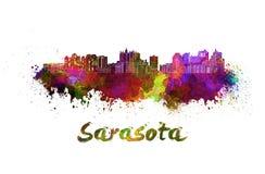 Sarasota skyline in watercolor Royalty Free Stock Photos