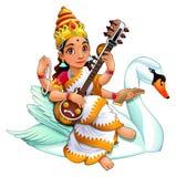 Sarasvati, déesse indoue illustration de vecteur