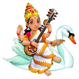Sarasvati, Hindu goddess. Of knowledge, music, arts, wisdom and learning. Vector cartoon character vector illustration