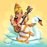 Sarasvati, Hinduska bogini wiedza, sztuki i uczenie, ilustracji