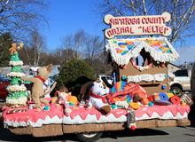 Saratoga County Animal Shelter holiday float in annual Christmas parade,Hudson Falls,New York,December,2013 Stock Photo