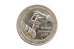 Saratoga fjärdedelmynt Arkivbild