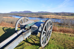 Saratoga National Historical Park, New York, USA. Cannon pointing to Hudson River in Saratoga National Historical Park, Saratoga County, Upstate New York, USA Royalty Free Stock Photo