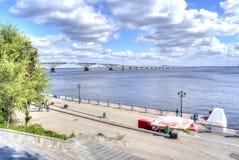 Saratov. Bridge across the river Volga Royalty Free Stock Images