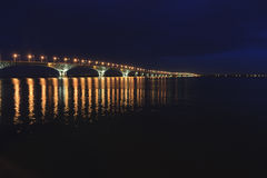 Saratov Bridge crosses the Volga River and connects Saratov and Engels, Russia length is 2,803.7 meters stock images