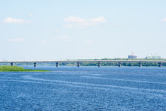 Saratov Bridge, crossing the Volga River Royalty Free Stock Photography